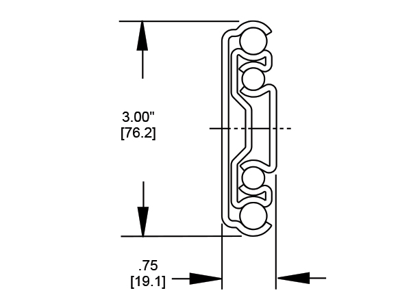 9308 Drawer Slide cross section