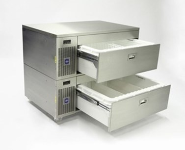 Custom designed slides in refrigerated drawers