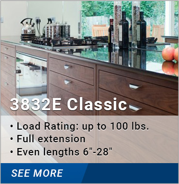 3832E Classic: load rating up to 100 lbs., full extension, even lengths 6-28 inches
