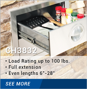 CH3832: load rating up to 100 lbs., full extension, even lengths 6-28 inches