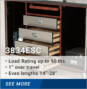 3834ESC load rating up to 90lbs. 1 inch over-travel even lengths 14-28 inches