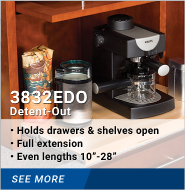 "3832EDO: Holds drawers and shelves open, full extension, even lengths 10-28 inches"" rel="