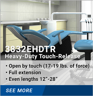 3832EHDTR Heavy-Duty Touch-Release: Open by touch 17-19 lbs. of force, full extension, even lengths 12-28 inches