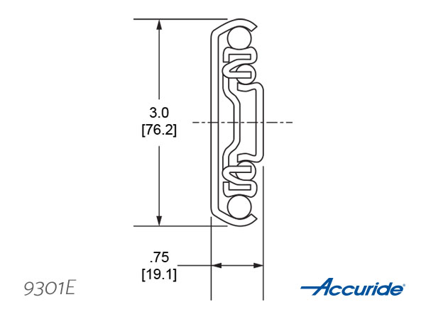 Accuride 9301E Cross Section - Download Tech Sheet/ CAD