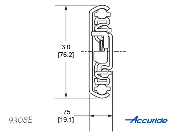 Accuride 9308E Cross Section - Download Tech Sheet/ CAD